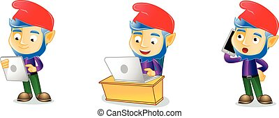 Midget with laptop mascot vector art