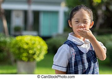 Kid in School Uniform - Portrait of Asian kid in school...