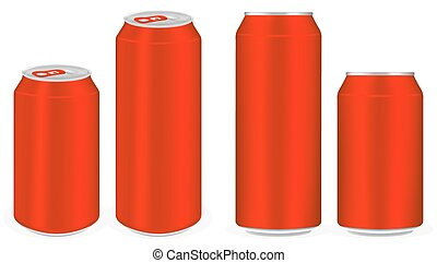 red aluminium soft drink cans vector