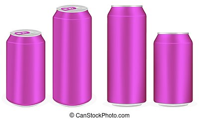 pink aluminium soft drink cans vector