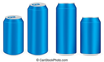 blue aluminium soft drink cans vector
