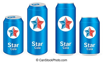 blue cola aluminium soft drink cans vector