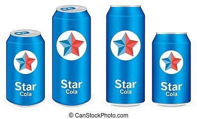 blue cola aluminium soft drink cans