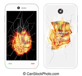 broken smartphone explosion with burning fire