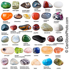 collection of various tumbled gemstones with names isolated...