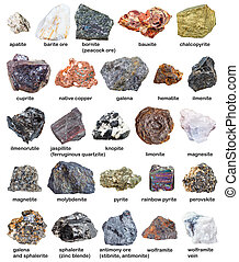 various raw minerals and ores with names isolated on white...