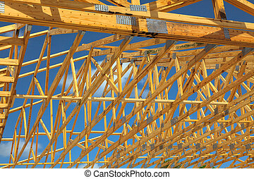 Wood Trusses - Wood Roof Trusses viewed from inside looking...