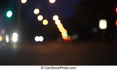 cars turning at night