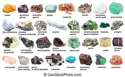 crudo, Conjunto, nombres, piedras preciosas, Cristales