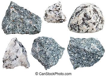 diorite, espécimes, cobrança, rocha