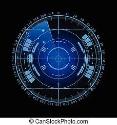 Radar screen. Vector illustration for your design. Technology background. Futuristic user interface. Radar display with scanning. HUD. Vector EPS10.