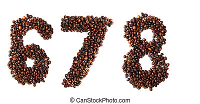 6 - number from coffee beans isolated on the white...
