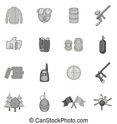Paintball icons set, black monochrome style - Paintball...