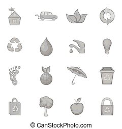 Nature icons set in black monochrome style