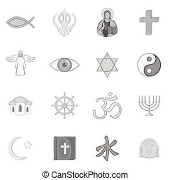 Religion symbols icons set in black monochrome style. World...