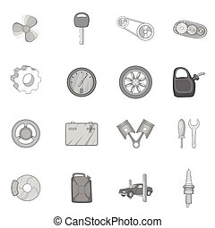 Auto spare parts icons set, black monochrome style - Auto...