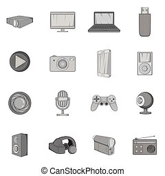 Audio and video icons set, black monochrome style