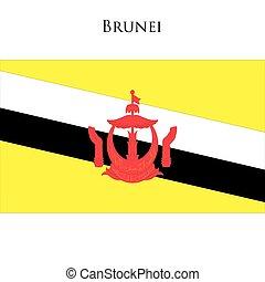 Brunei flag on a white