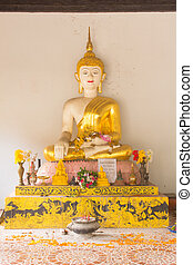 White Golden buddha statue lanna style in temple