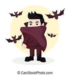 dracula with bat illustration design