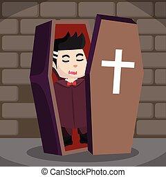 dracula in coffin illustration design