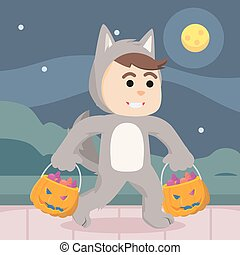 werewolf guy costume with candy bag
