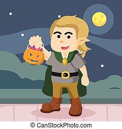guy in elf costume got candies in