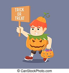 boy holding sign trick or treat