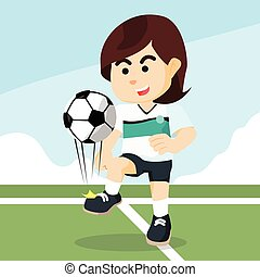 female soccer player juggling