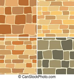 stone wall - seamless patterns - set - vector stone wall -...