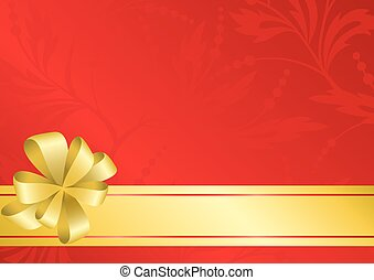 vector red card with golden bow and ribbon