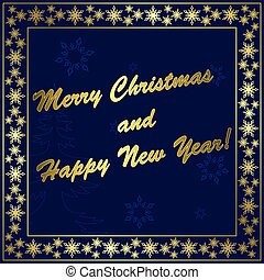 dark blue vector christmas card with gold decor and frame