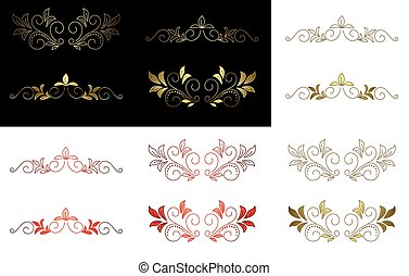floral golden red design element - vector floral golden and...