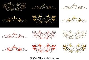 floral golden red design element - vector floral golden and...