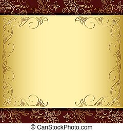 floral frame with gold and brown background - vector