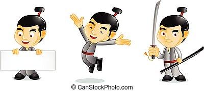 Samurai with board mascot vector art