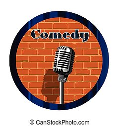 Comedy Mic Circle - A spotlight playing against a stage wall...