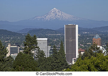 Portland Oregon Skyline and Mount Hood - Portland Oregon...