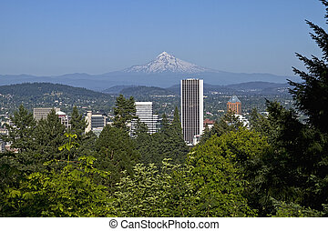 Portland Oregon Skyline and Mount Hood 2 - Portland Oregon...