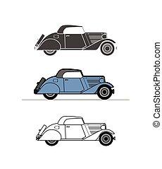 Retro cabriolet car, vintage collection - Retro cabriolet...