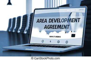 Area Development Agreement on Laptop in Conference Hall. 3D Render.