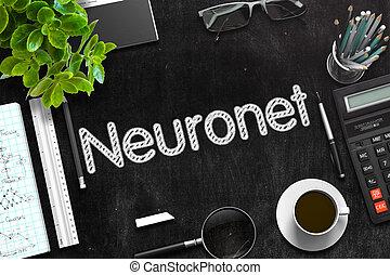 Neuronet Handwritten on Black Chalkboard. 3D Rendering.