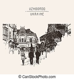 digital sketch of Uzhgorod cityscape, Ukraine, town...