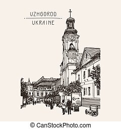 sketch of Uzhgorod cityscape, Ukraine, town landscape and...