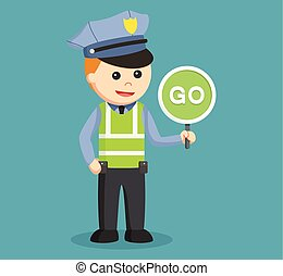 traffic police with go sign