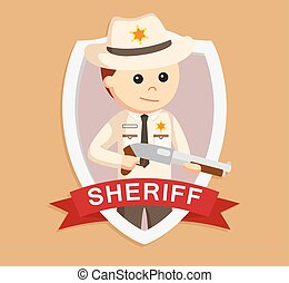 sheriff officer in emblem colorful