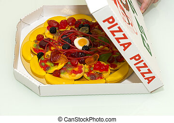 chewy candy pizza - sweet pizza made of chewy candy