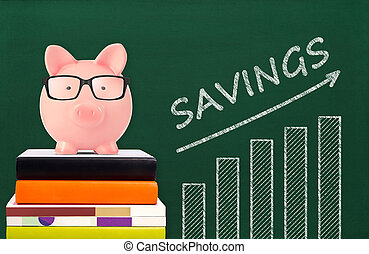 Piggy bank and savings chart