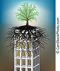 Towerblock tree - Editable vector illustration of a tree...