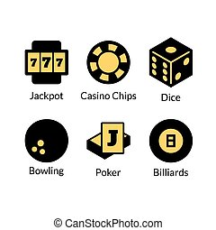 Gambling icons set, games of chance logo, vector...